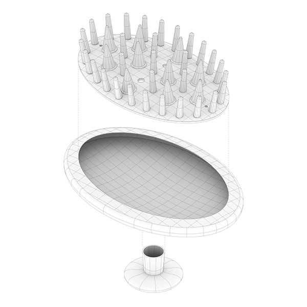 Created 3D model of the plastic comb from Muji store in order to understand its form, structures, physicality, the basics. After that, divided the comb into three main parts according to their shapes, materiality, and role. The division inspired to think about the interiority of the object, space within it. Merged protruding parts to the interior space of the comb. Not a comb any more.