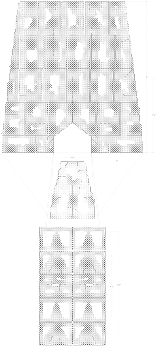 1 Unfolded pattern/plan of final model which shows combination of surface with solid and scored pattern.3 Layers of this layout are laminated for structural integrity. Process: (scoring, folding, ironing/laminating/building) Step #1: fold along the lines from the pattern (all directions), Step #2: build up while following the order from pre-drawn plan (left).Shape is decided by how the each veneer acts from the scored patterns (different amount) and perforations, Step #3: by ironing, laminate 2-3 layers of veneer sheets while building up vertically also.