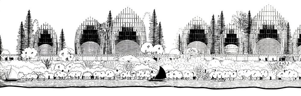 Cross section/plan, elevation (back), section/elevation of Jean-Marie Tjibaou cultural centre. After analysis and studies, the plan at the bottom was drawn for model making.