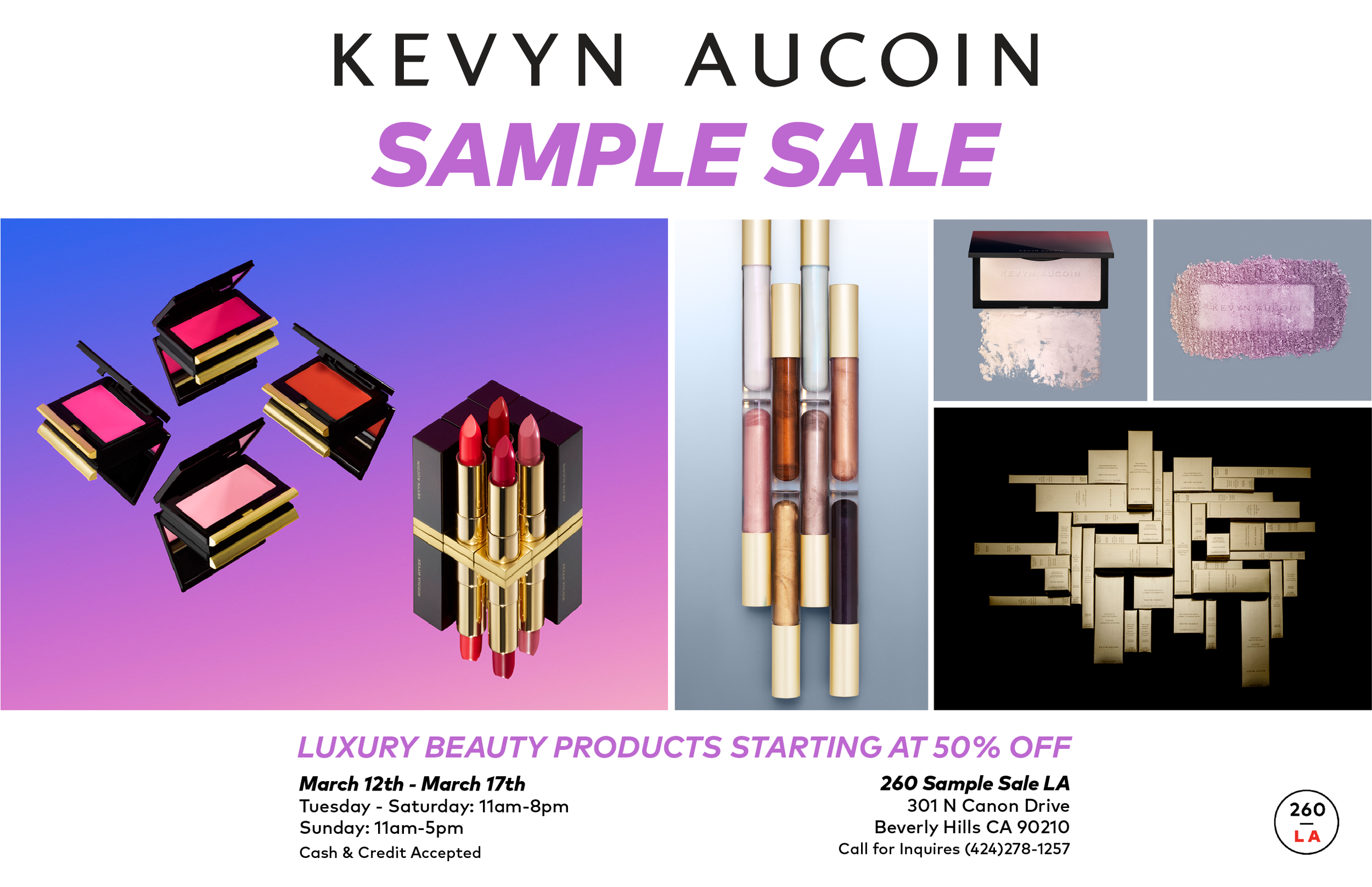 7e80316b9d KAB SampleSale 260LA-02.png. 260LA is excited to welcome the Kevyn Aucoin sample  sale ...