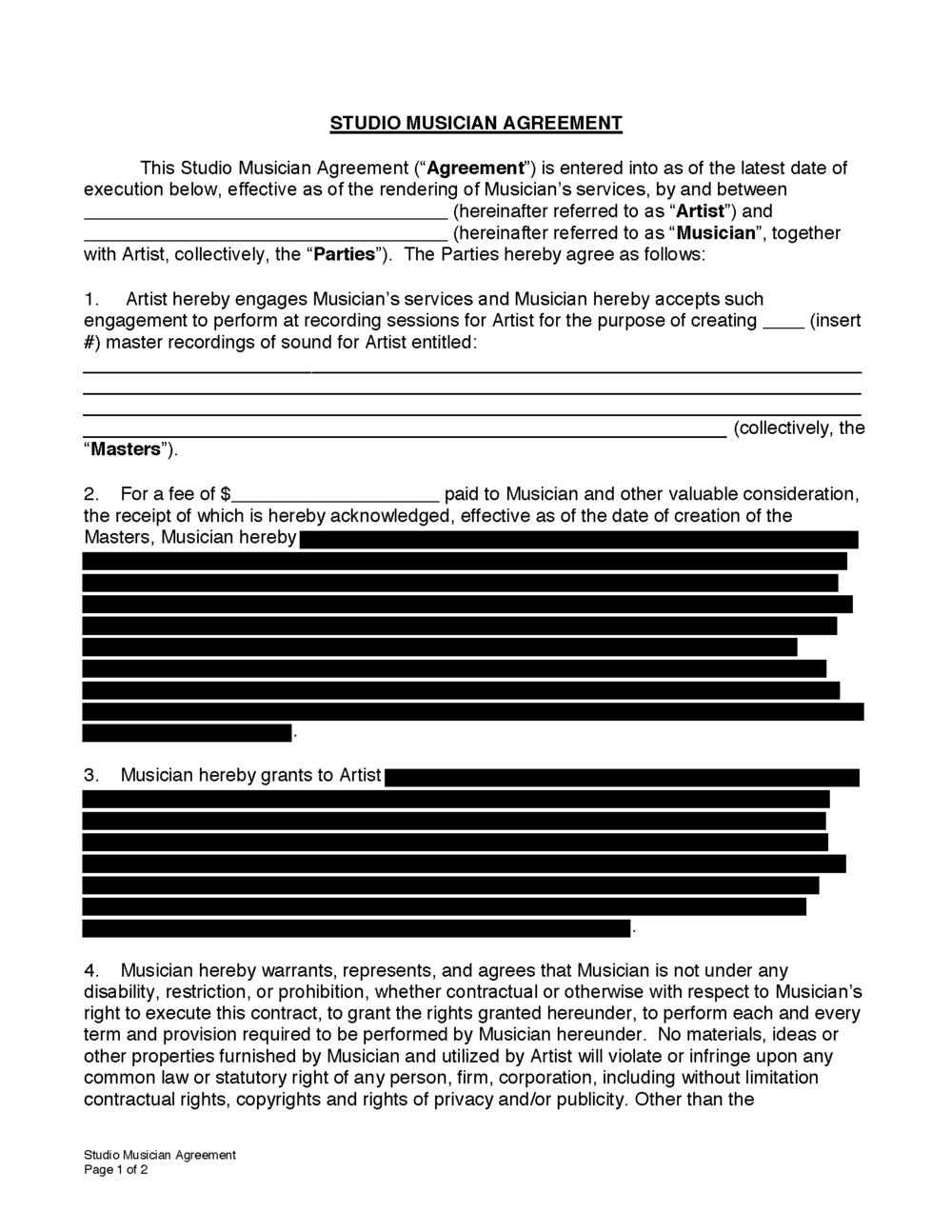 BandFormscom Shop Legal Forms And Contracts For Musicians Music - Legal forms contracts