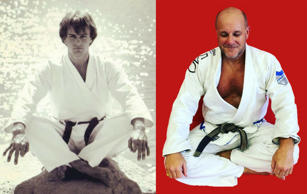 Tom Callos age 19, after receiving 1st degree black belt in Taekwondo --and at age 57, now a 7th degree black belt and a brown belt in Brazilian Jiu-Jitsu. Having started at age 11, Tom has engaged in 46 years of martial arts study and practice.