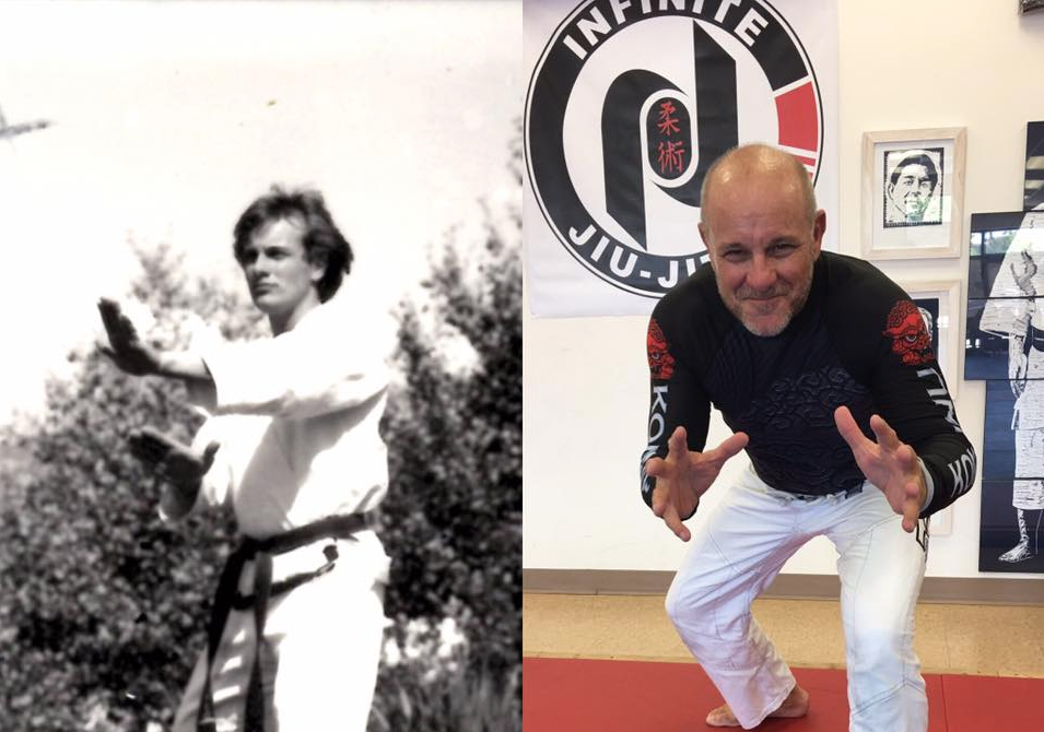 Tom Callos as a new TKD black belt in 1979 and as a brown belt in BJJ in 2018. Where does the time go?
