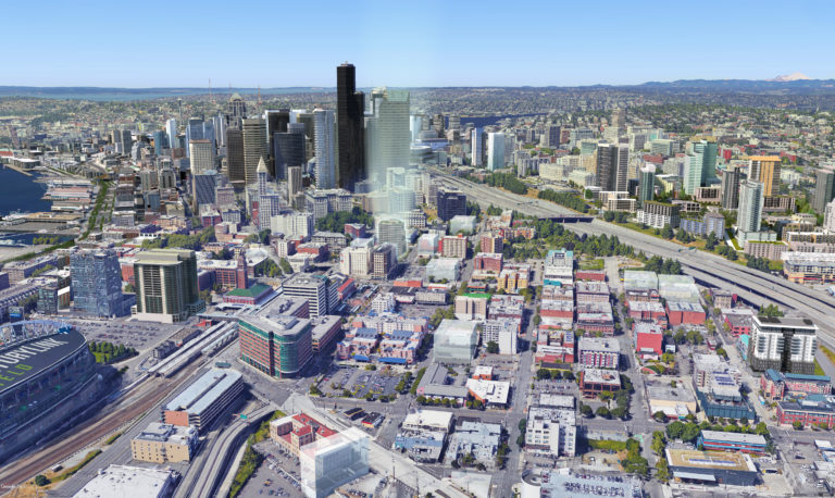 Above: A digital animation of the evolving skyline of downtown Seattle with the KODA Condominiums showcased front and center at the gateway between the CBD and the historic Chinatown-International District.