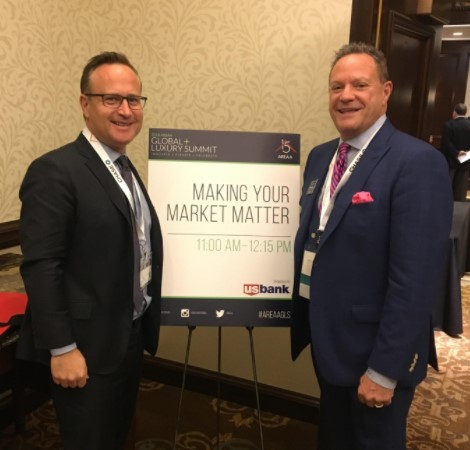 Above & Below:   Dean Jones, President & CEO of RSIR (left) describes how Seattle became a primary market for international homebuyers in recent years – the AREAA Global + Luxury Summit was particularly relevant as it was being hosted in Seattle.