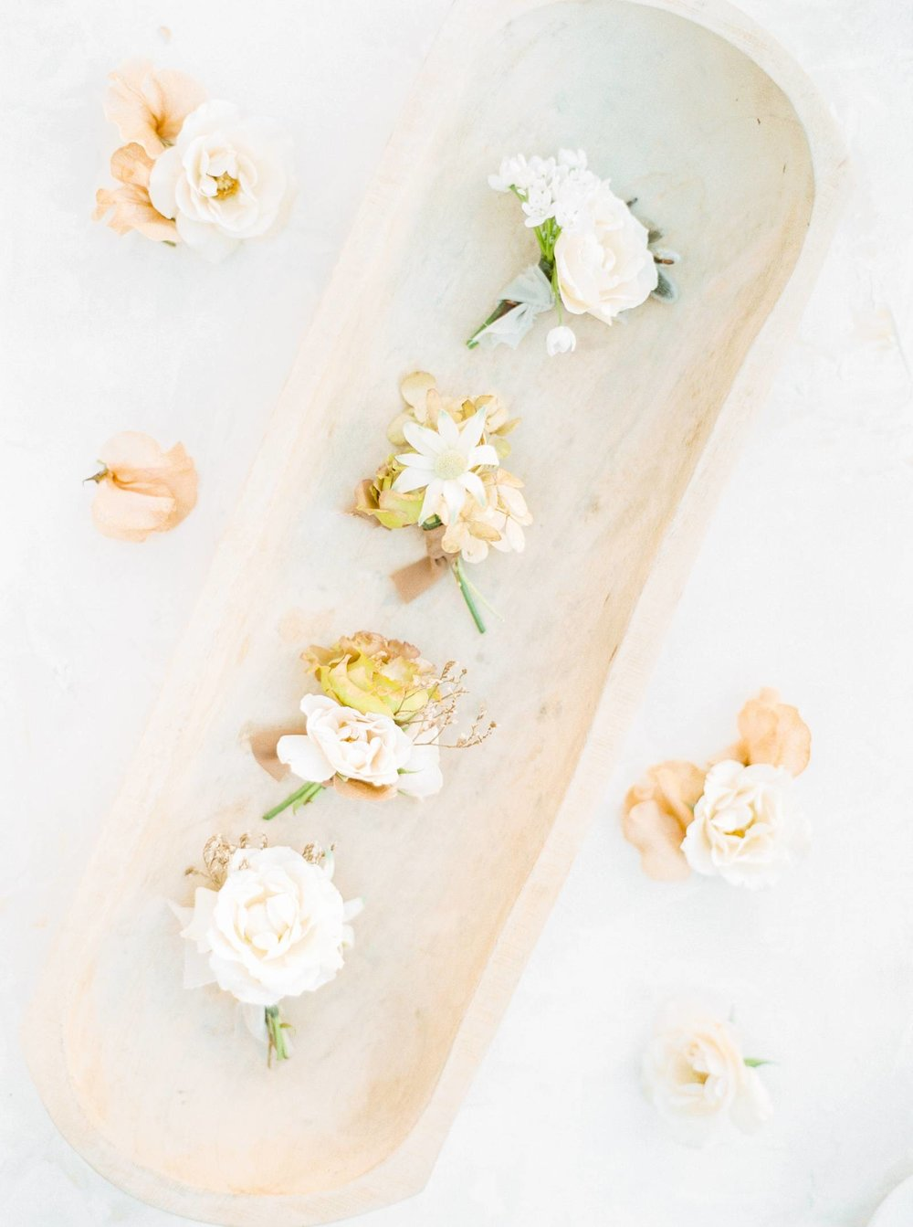 Gold and blush Boutonniere