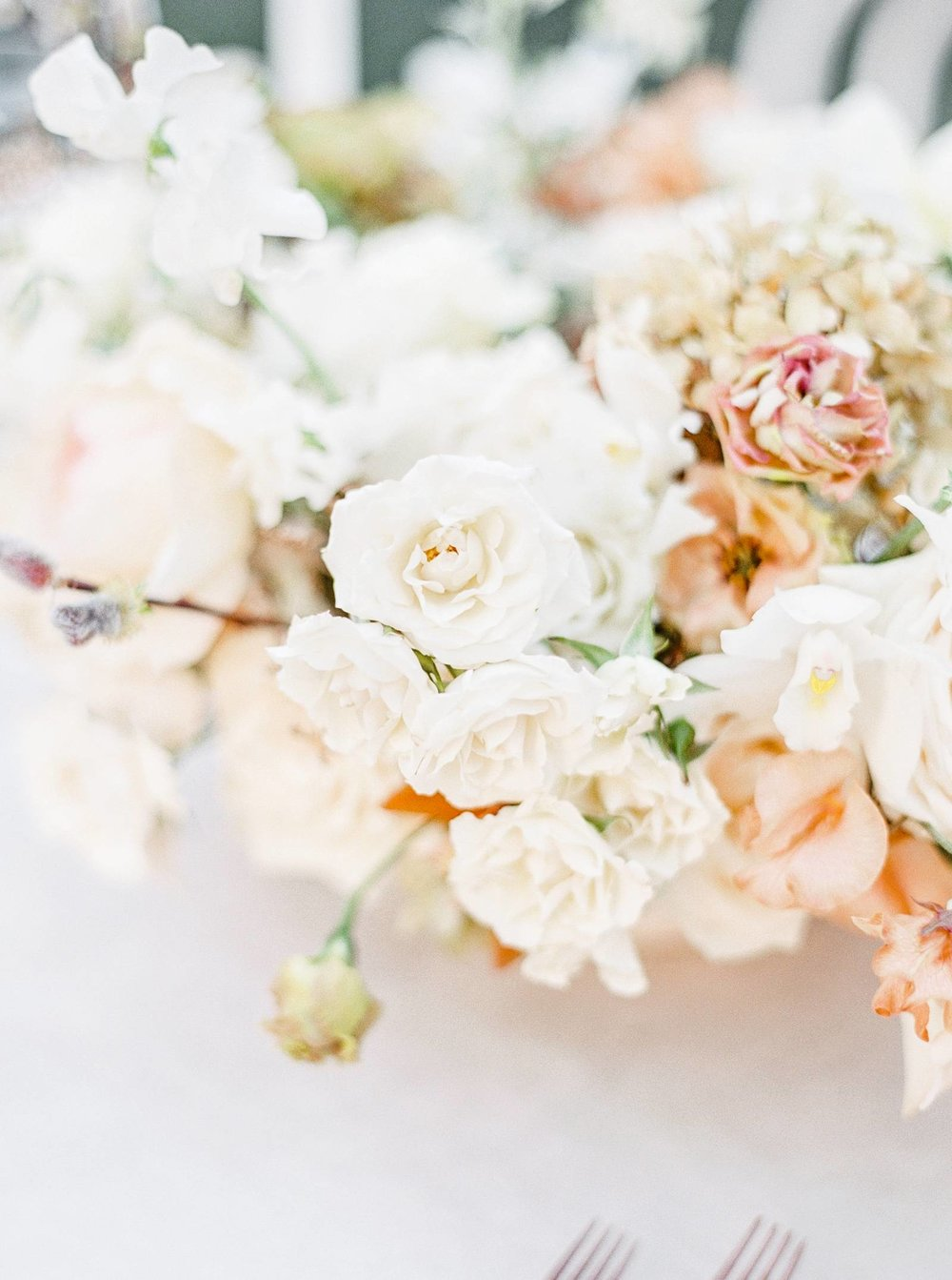 blush and copper centerpiece