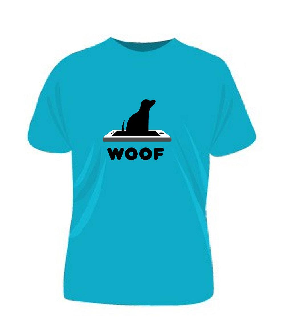 """Mockup of """"WOOF"""" company t-shirt design"""