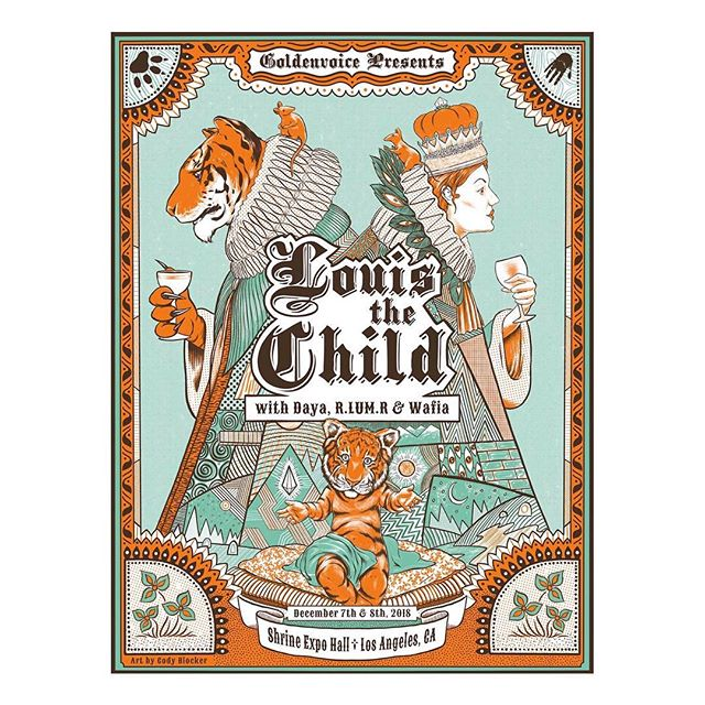 New screen printed poster for @louisthechild - Dec 7 and 8 at Shrine Expo Hall in LA, presented by @goldenvoice. Printed by @calimucho_sanpedro - swipe for detail shots