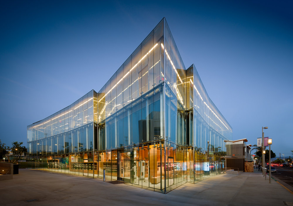 Northwest corner and main library entrance at dusk