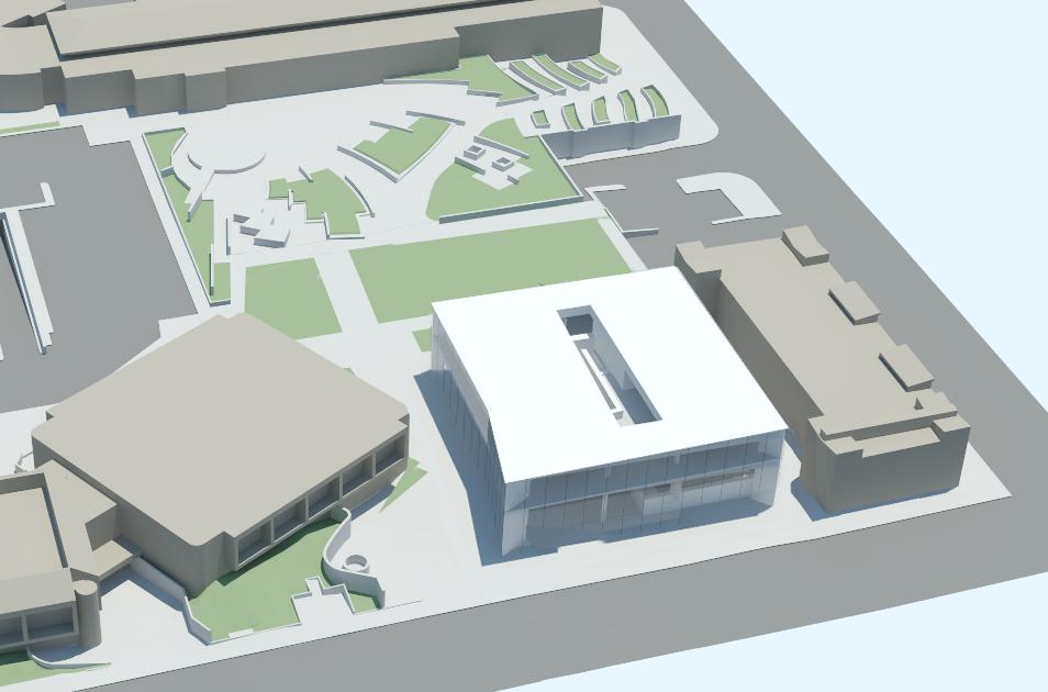 Aerial view of 3D model looking east