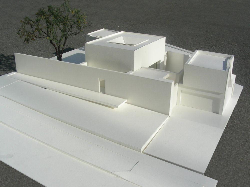 Aerial view of model looking east