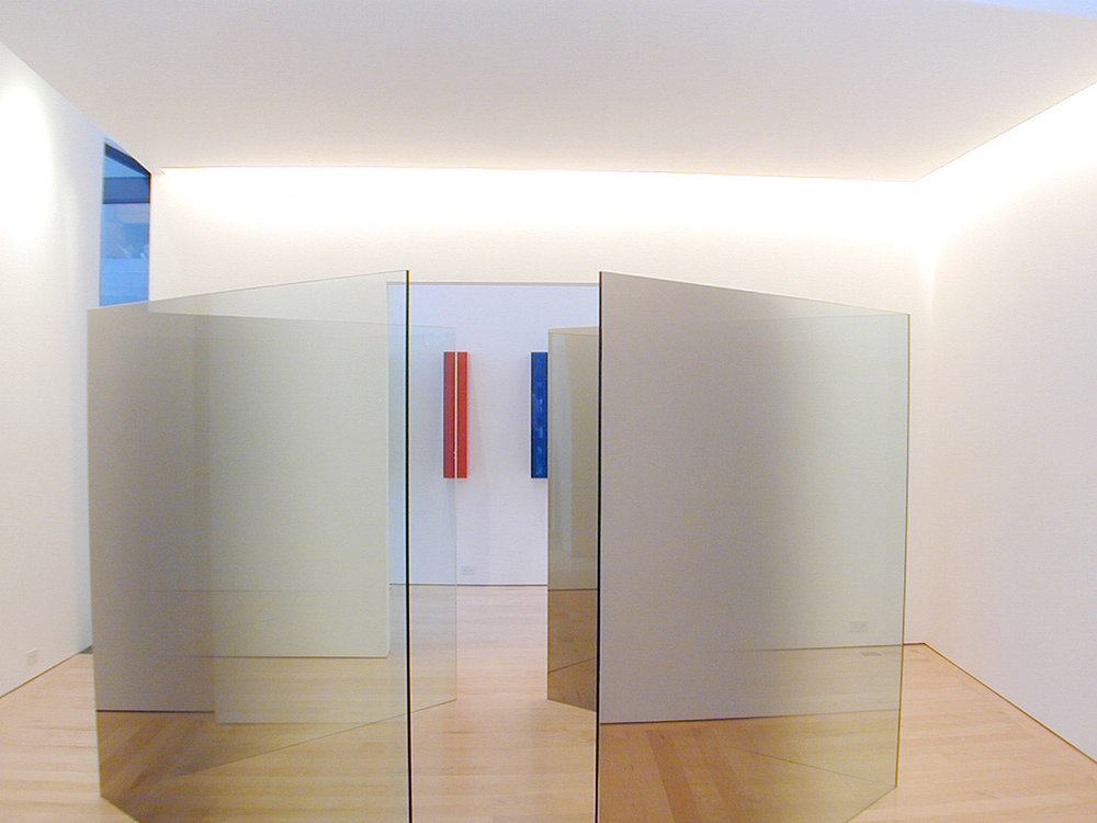 Interior gallery featuring Larry Bell installation