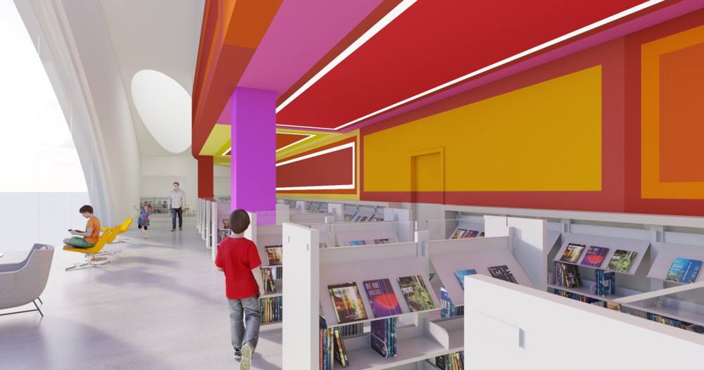Inspired by ancient architectures and modern art the interiors of the library will reflect in character and décor the rich diversity of the people of Riverside and the architecture of its downtown.