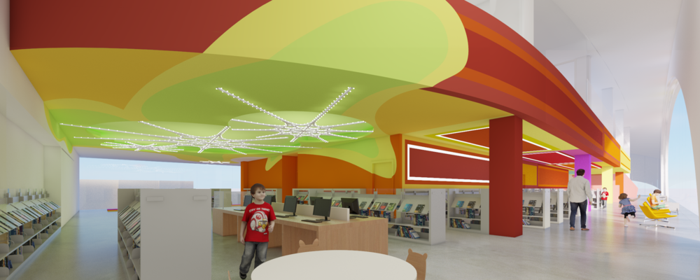 The children's library offers a fantasia of color and light to instill in young people a life-long connection with the experiences and memories of where they first encountered a story or history or mystery.