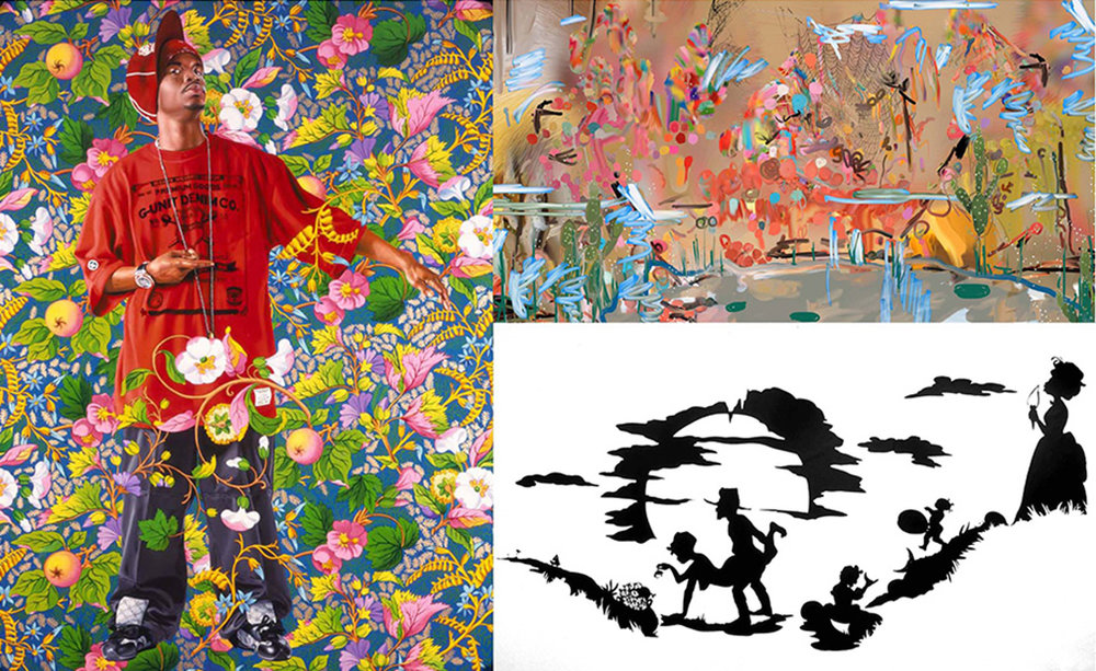Contemporary artists such as Kehinde Wiley, Laura Owens and Kara Walker engage in ornamental compositions that are at once provocative and pretty.