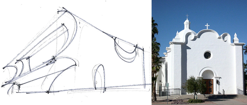 The Costa Mesa library will look the way it does in part as an evocation of the architecture of the California missions.  There are 21 missions across the length of the state and they are the first substantial buildings ever built in California.