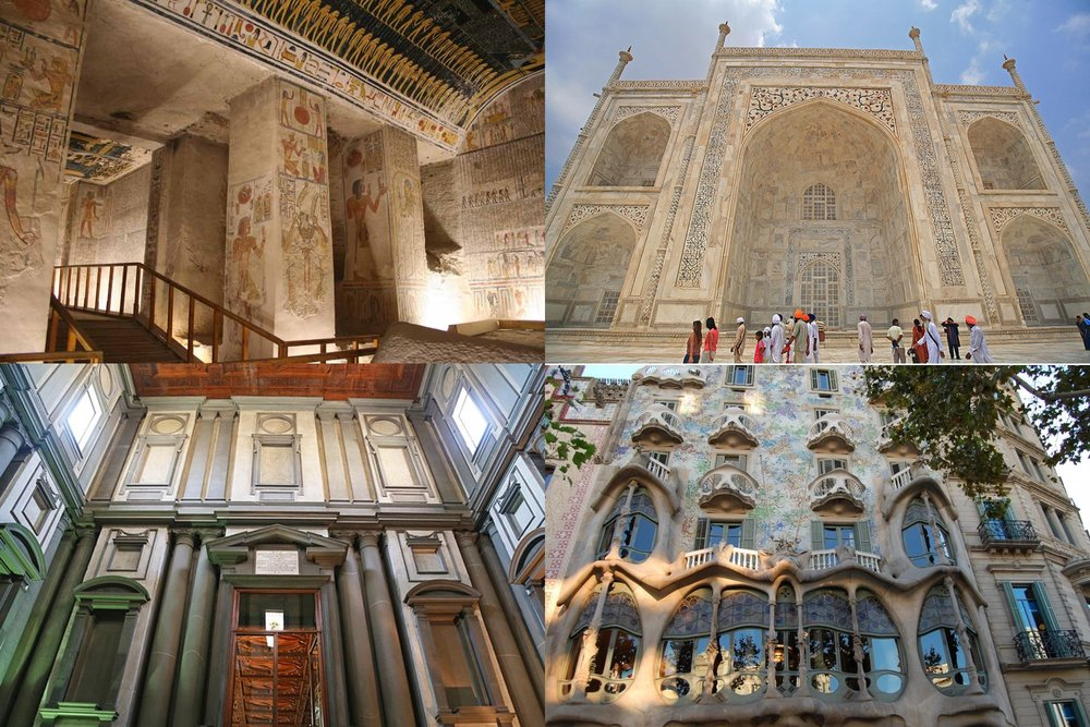 Architectures of the world are forever alive and always potentially a source of inspiration even emulation. (Shown here: the tomb of Ramesses II, the Taj Mahal, Michelangelo's library in Florence and Gaudi's apartment building in Barcelona)