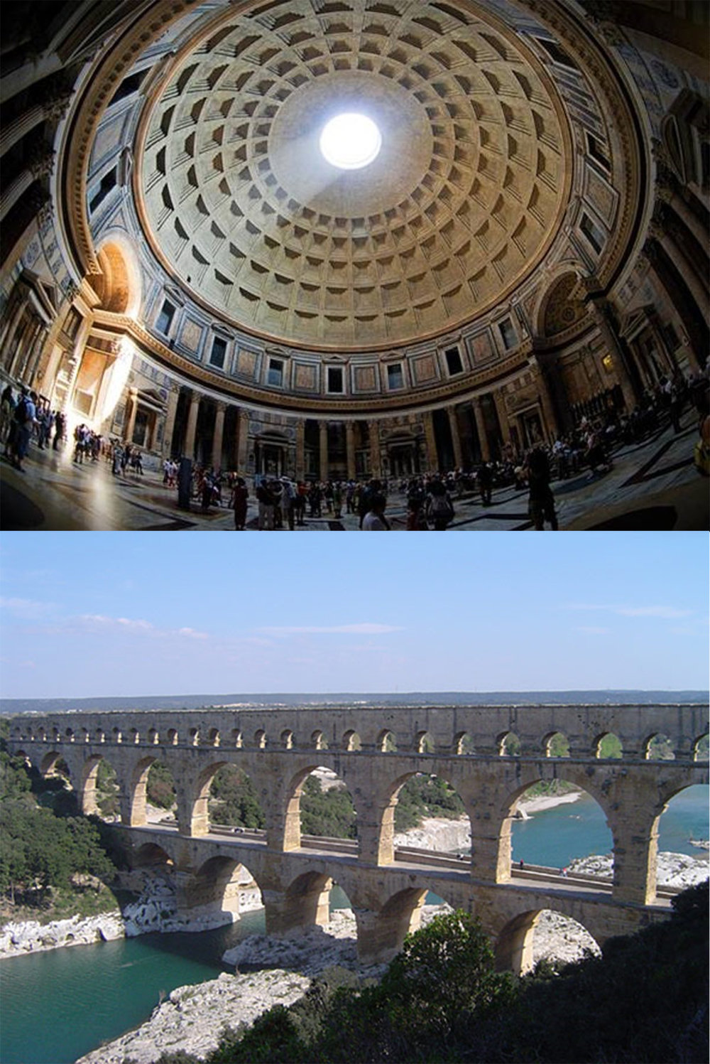Arches, vaults and domes such as the Pantheon in Rome and aqueducts across Europe were among the Romans' greatest achievements as builders.