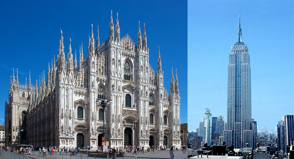 It took six centuries to build the cathedral of Milan, 14 months to build the Empire State Building.
