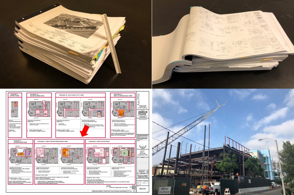 "The set of drawings that describes this project for a school in Los Angeles is over 1, 000 (30"" x 42"") pages which when stacked stand nearly 8 inches tall. This is a 3 ½ year construction project that had to be completely documented before start of construction."