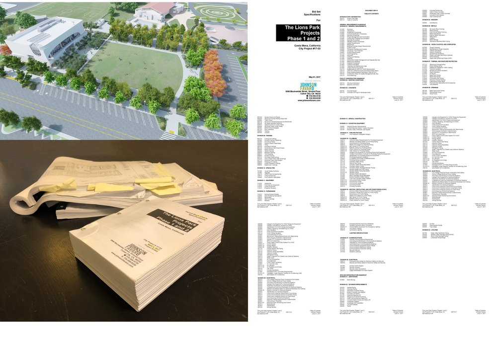 "In addition to graphic descriptions of a building, the drawings, there are narrative and numerical descriptions called ""specifications"" that describe all of the systems, performance criteria and details of the building. The specifications for the Costa Mesa Library project comprise nearly 2,100 pages. The table of contents alone is eight pages long."