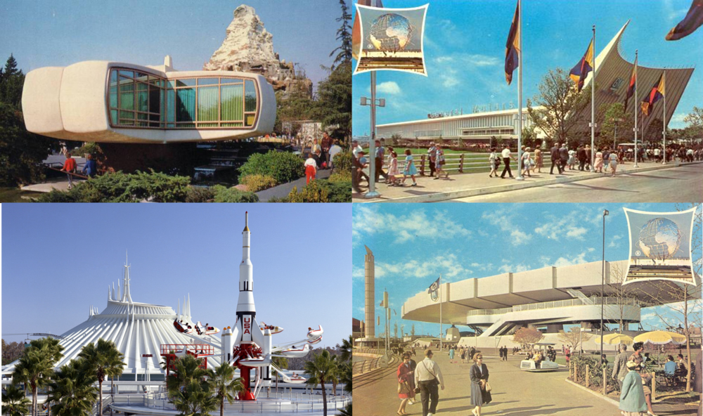 POPULARIZING THE FUTURE Disneyland's Tomorrowland in 1956 on the left, New York Worlds Fair in 1964 on the right.