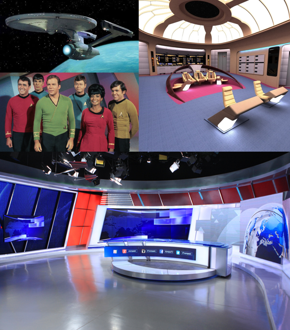 STAR TREK AND THE BBC WORLD NEWS Above, the starship Enterprise, the captain's deck and the cast circa 1966; below, the set of the BBC World News now. The future always seems clean, without vegetation any visible source of light or a horizon.