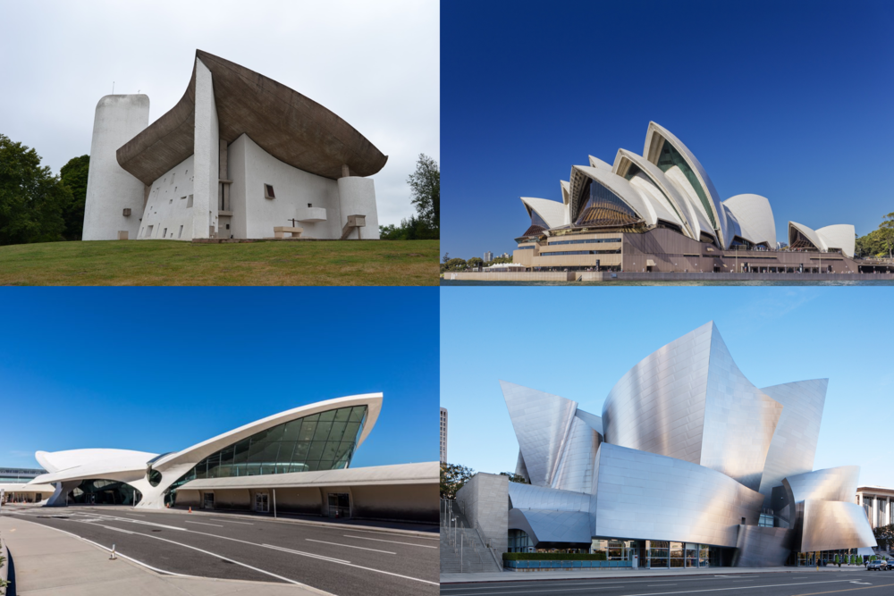 BEEN THERE DONE THAT Clockwise from upper left: Ronchamp Chapel (Le Corbusier) in 1955, Sydney Opera House (Utzon) in 1959, JFK Airport TWA Terminal (Saarinen), 1962 and Disney Concert Hall (Ghery) in 2003.