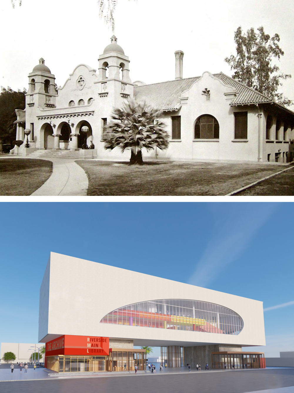 RIVERSIDE MAIN LIBRARY The city's original mission style Carnegie library (above) was built in 1903, torn down and replaced by a new library in 1964. The 1964 library will now be replaced on a different site downtown by a new library (below). The new library while much larger has more in common with the Carnegie library than the mid-century one.