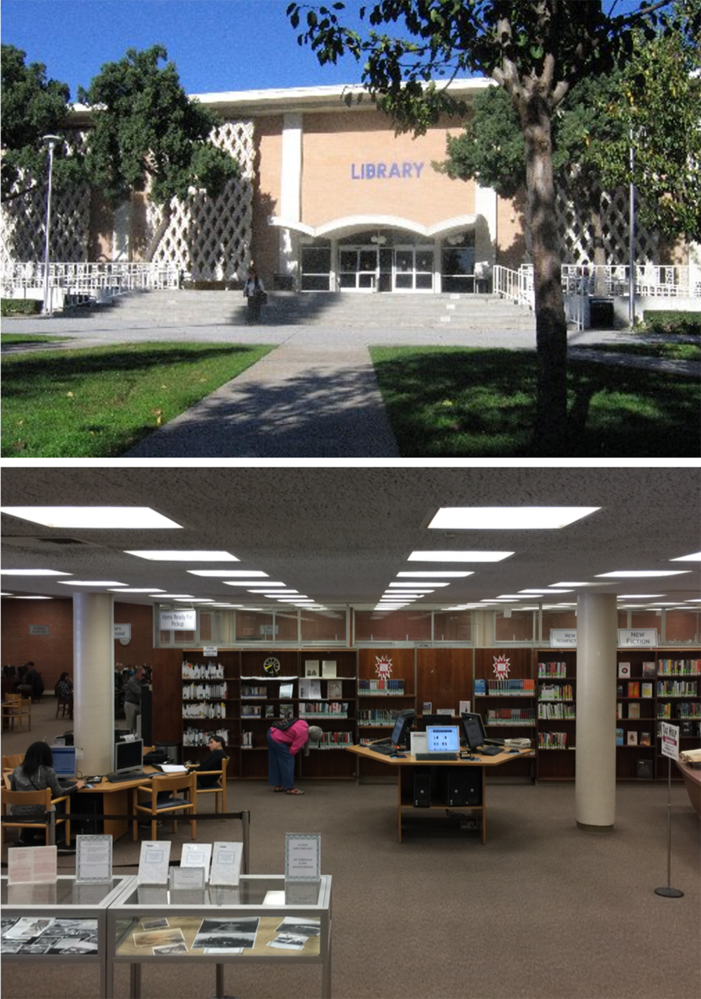 MIDCENTURY LIBRARY The 1970s era Manhattan Beach library had one window and no relationship with its setting which includes the city's civic center, the commercial core of downtown Manhattan Beach and to the west the Santa Monica bay and Pacific Ocean.