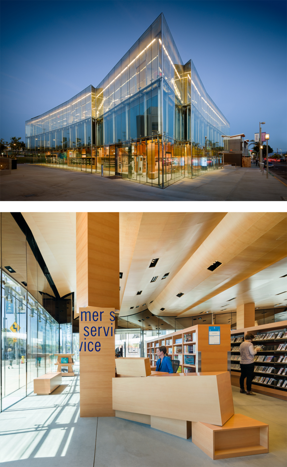 MANHATTAN BEACH LIBRARY The new library is designed for maximum transparency at street level and views out across Santa Monica bay and the city at the upper level. This creates a building at once friendly and accessible as well as intimately connected to its geographic setting and climate.
