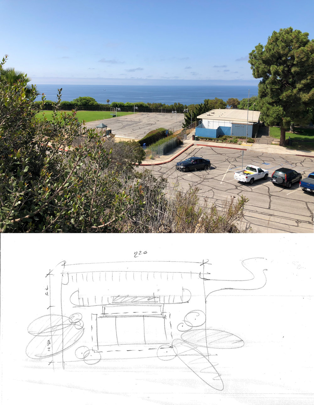 NEW PARK SITE New park will occupy a decommissioned elementary school campus overlooking the Pacific Ocean.      PRELIMINARY THOUGHTS Initial sketch of community center layout within the new park.