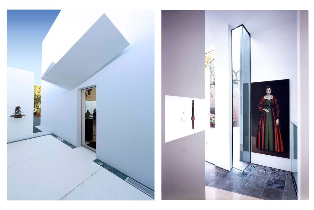 INTEGRATION OF PAINTING, SCULPTURE AND ARCHITECTURE (Westwood residence, left; Santa Monica gallery, right).
