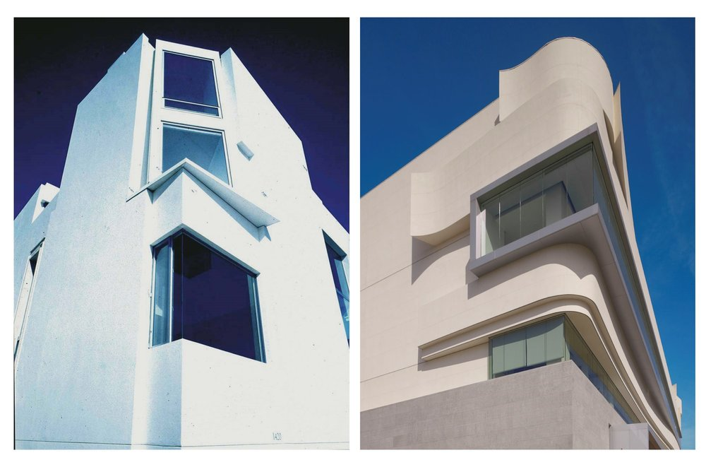ANGULAR AND CURVACEOUS (Manhattan Beach residence, left; West Hollywood Library, right)