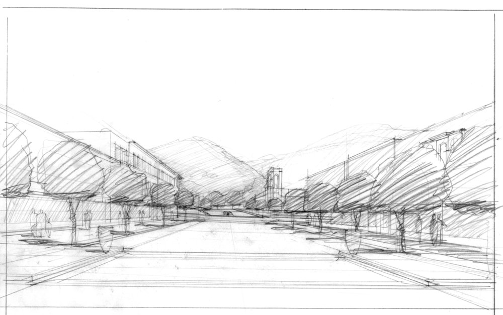 Commerce Avenue perspective sketch looking south