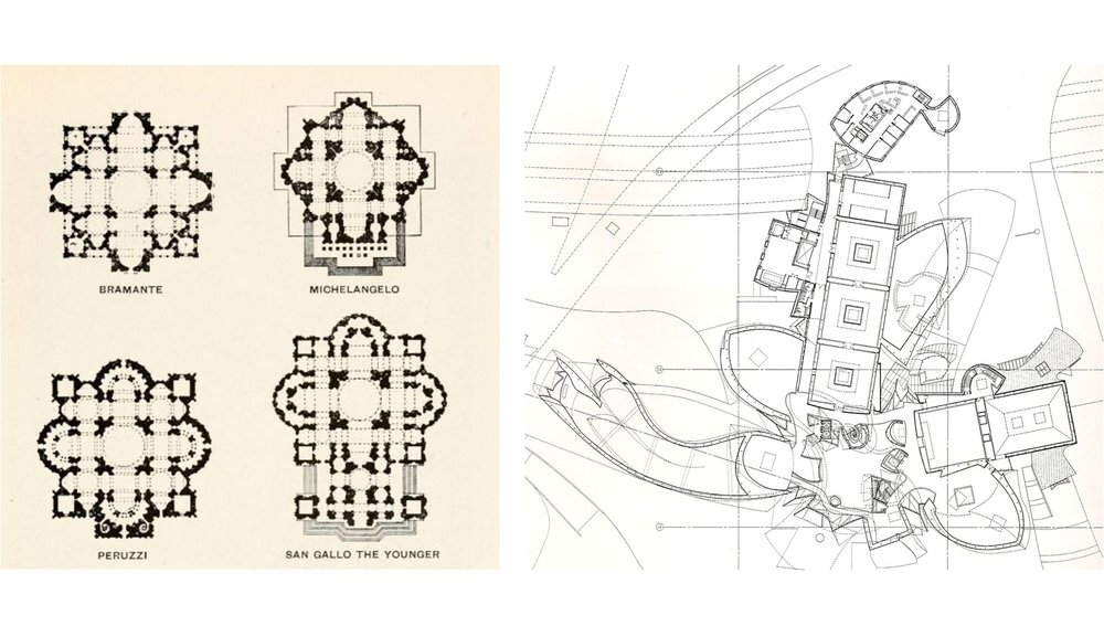THE PLAN AS A SECTION The studies on the left by various 16th century architects for the rebuilding of St Peters in Rome and the ground floor plan of the Guggenheim Museum in Bilbao on the right are similar in that the drawing is mostly employed as a horizontal slice through the building. The plan was not the primary tool in composing the building so much as three dimensional models were.