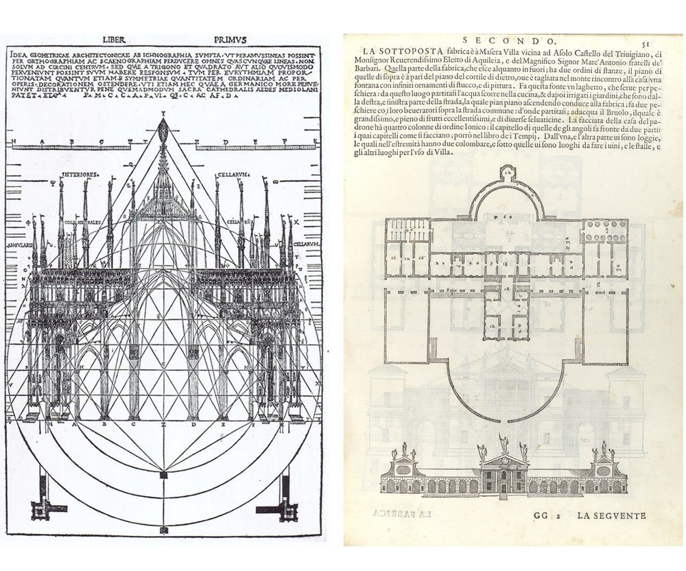 SYSTEMS OF PROPORTION Medieval builders engaged in mostly incommensurable geometric systems of proportion while Renaissance architects (such as Andrea Palladio on the right) employed commensurable numerical systems of proportion.