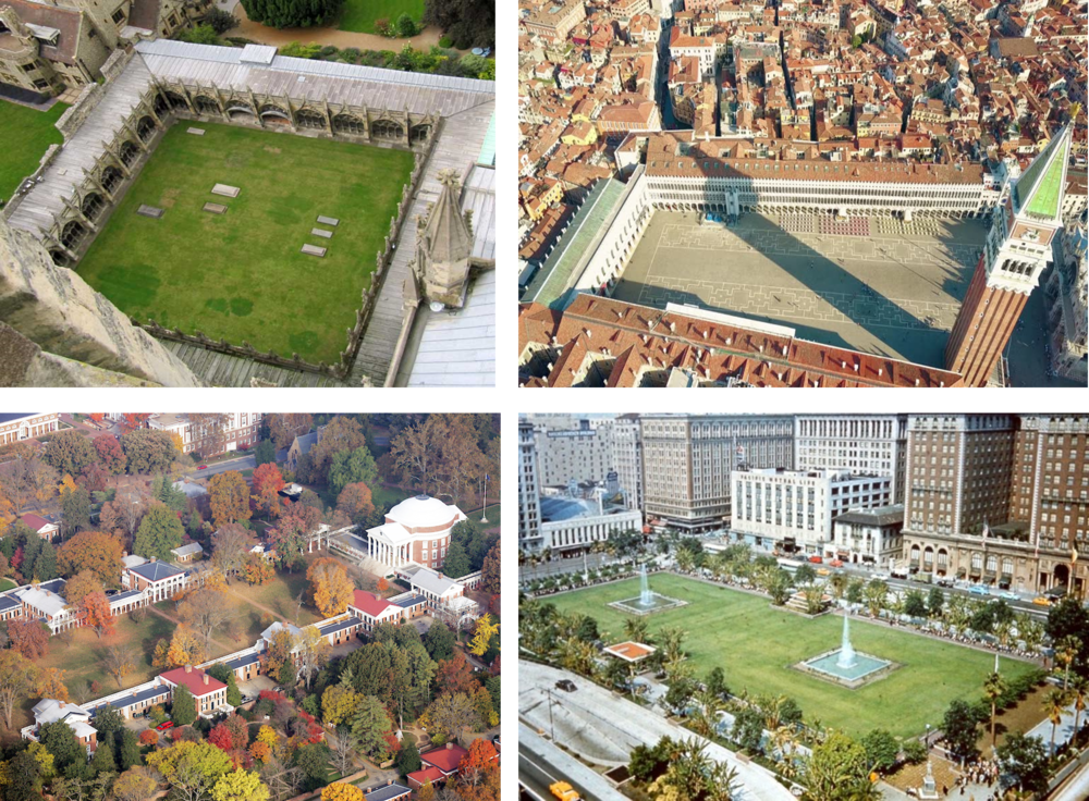 VOID IN ARCHITECTURE Clockwise from upper left: cloister, piazza, town square, quadrangle