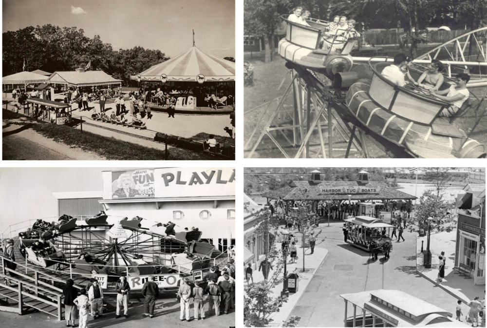 MID CENTURY AMUSEMENT PARK Sedentary Americans created and enjoyed rides and attractions in parks big and small across the country.