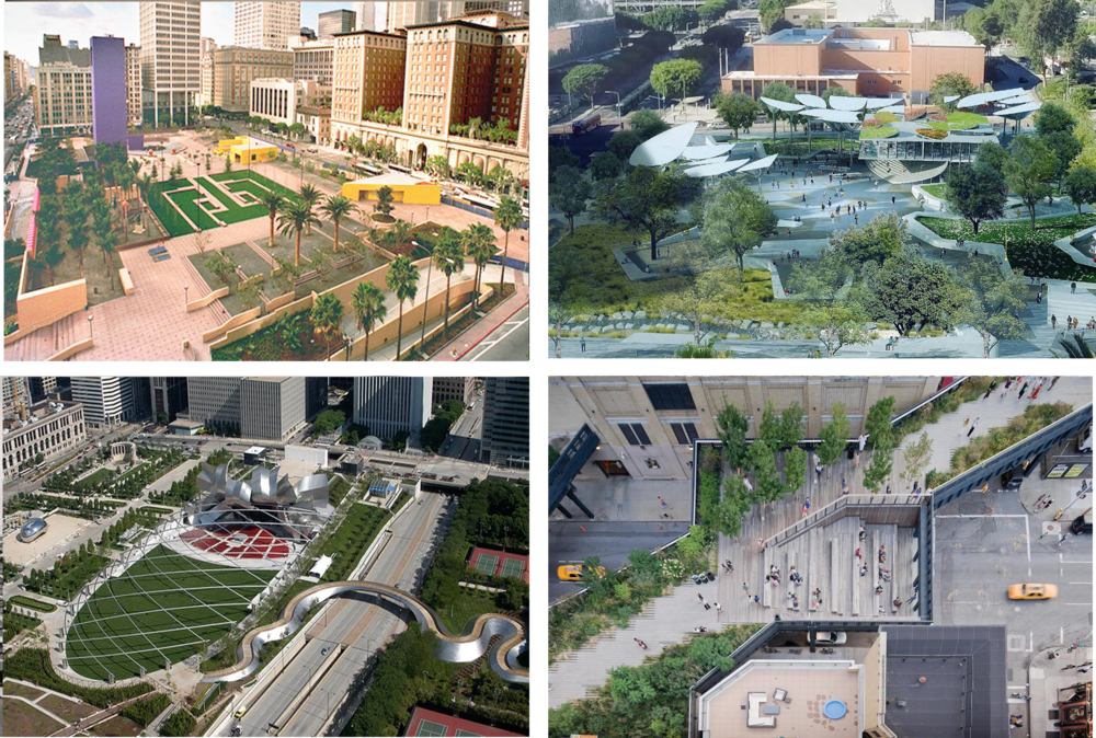 CAN'T BE STILL: URBAN PARK AS AMUSEMENT PARK Clockwise from upper left: Pershing Square, Los Angeles, First and Broadway Civic Center Park, Los Angeles, The High Line, New York, Millennial Park, Chicago