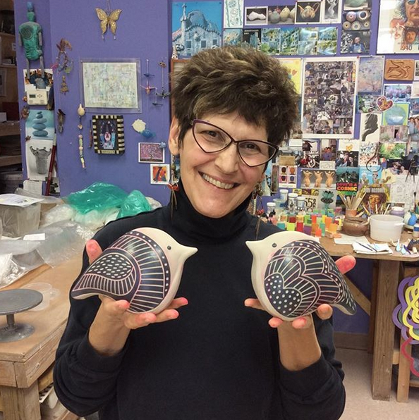 Sandi Pierantozzi - Neighborhood Potters2034 Fairmount Ave, Philadelphia, PA 19130Sandi Pierantozzi is a nationally recognized potter and has been making pots for over 30 years. Her work, which is predominantly slab built, has been featured in Studio Potter, Ceramics Monthly, Clay Times and over a dozen books on clay work. She has presented numerous workshops across the country, and has exhibited her work nationally and abroad. Her work is in both museum and private collections. She was chosen an Emerging Talent at the 1993 NCECA conference and was a featured demonstrator at NCECA in 2001. Her awards include a 2001 Fellowship from the Pennsylvania Council on the Arts, and the Hammill & Gillespie Purchase Award at the 1999 Ceramics Monthly International Ceramics Competition. She created and organized