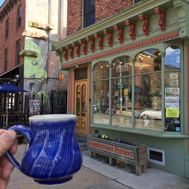 """A pot in the Neighborhood. Neil Patterson taking over instagram today.  Looking forward to """"Young Guns & Geezers"""" & The Philadelphia Potters Urban Studio Tour, April 26-28. Fairmount Arts Crawl is also Sunday, April 28. Save the date for this big weekend of art! @neighborhoodpotters  Our guests this year are @lisanaplesceramics @royceyoderpottery @adamledfordceramics @sashabarrettceramics @jesssicahans @threetceramics @natewillever @thephiladelphiapotters #neighborhoodpotters #ceramics #fairmountartscrawl #contemporarycraft #functionalpottery #artmuseumarea #fairmountave #pottery #handmadeceramics #studiopotter  #philadelphiapotters #decorativeart #pat#decoration #ceramicdesign #americancraft #philadelphiaclay #thephiladelphiapotters #urbanstudiotour #baileystreetartscorridor #surfacedesign #neilpatterson #sandiandneil"""