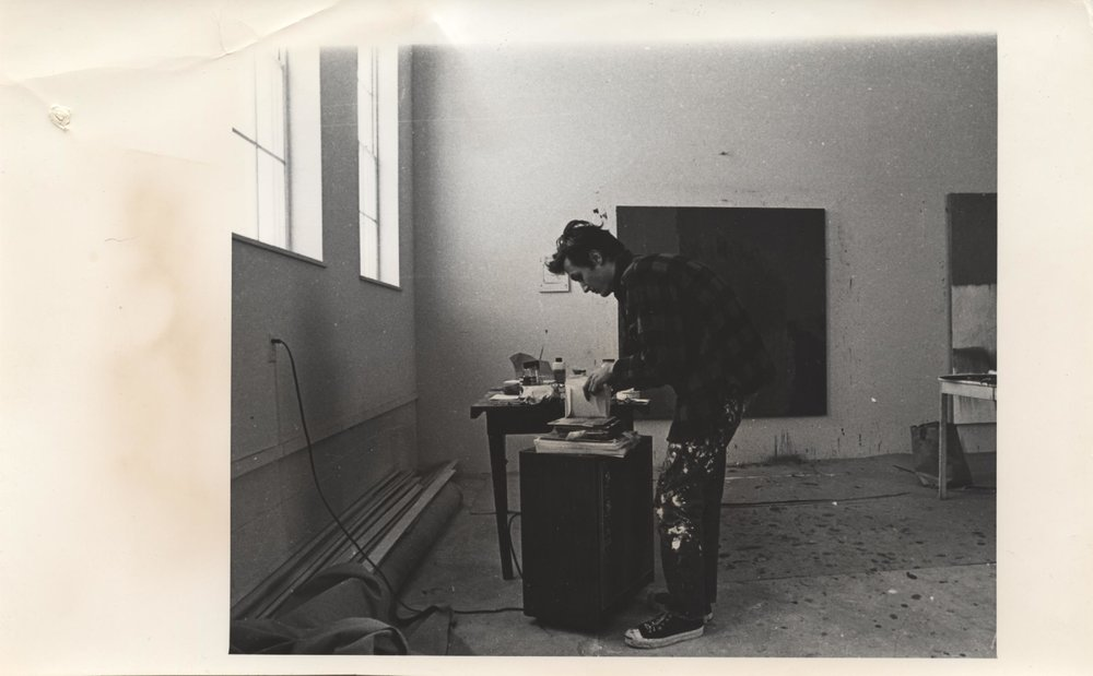 David Reed  (RAiR 1969-70) in his studio at Berrendo Rd