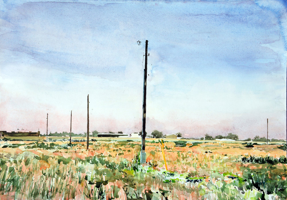 "AMoCA Collection  |  Back Field , watercolor, 16"" x 22"", 2016"