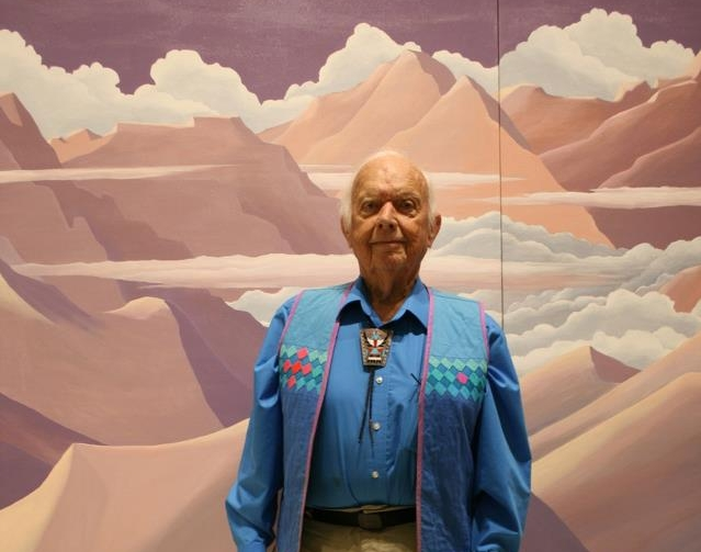 Don Anderson, founder of the Anderson Museum of Contemporary Art and the Roswell Artist-In Residence Program in Roswell, New Mexico. Pictured April 6th, 2013 on his 94th Birthday in front of one of his paintings. Photo: Artotems Co.