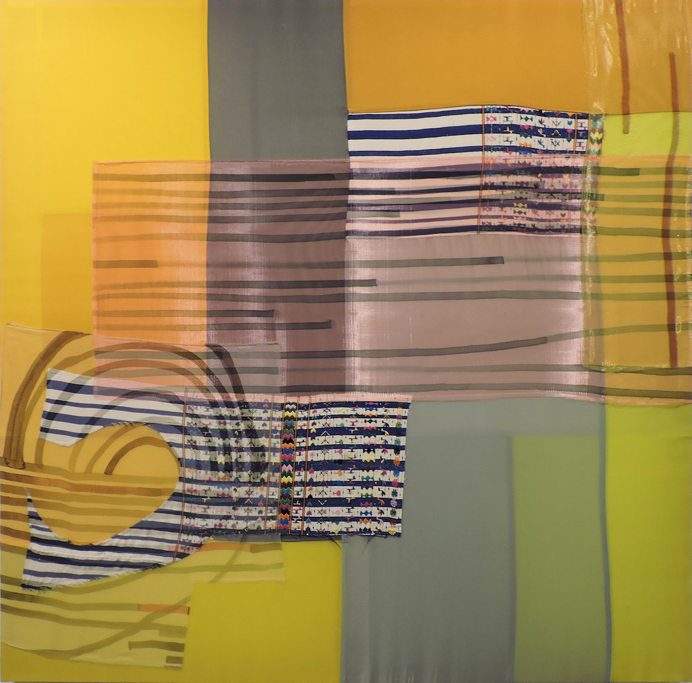 "AMoCA Collection  |  Round Trip Melody , acrylic paint, polyester, nylon, silk, Guatemalan tapestry, 73""x72"", 2013"