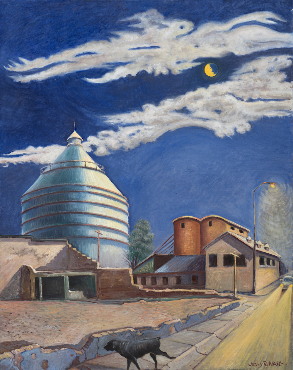 "AMoCA Collection   Roswell Cotton Warehouse with Black Dog and Broken Moon , oil on linen, 48""x38"", 2013"