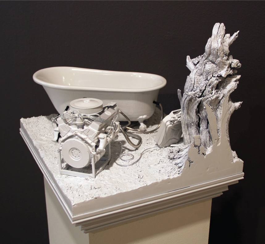 "AMoCA Collection  |  V8 Hot Tub , plastic, wood, gypsum, body filler, aluminum, paint, 12.5""x14.25""x17.25"", 2011"
