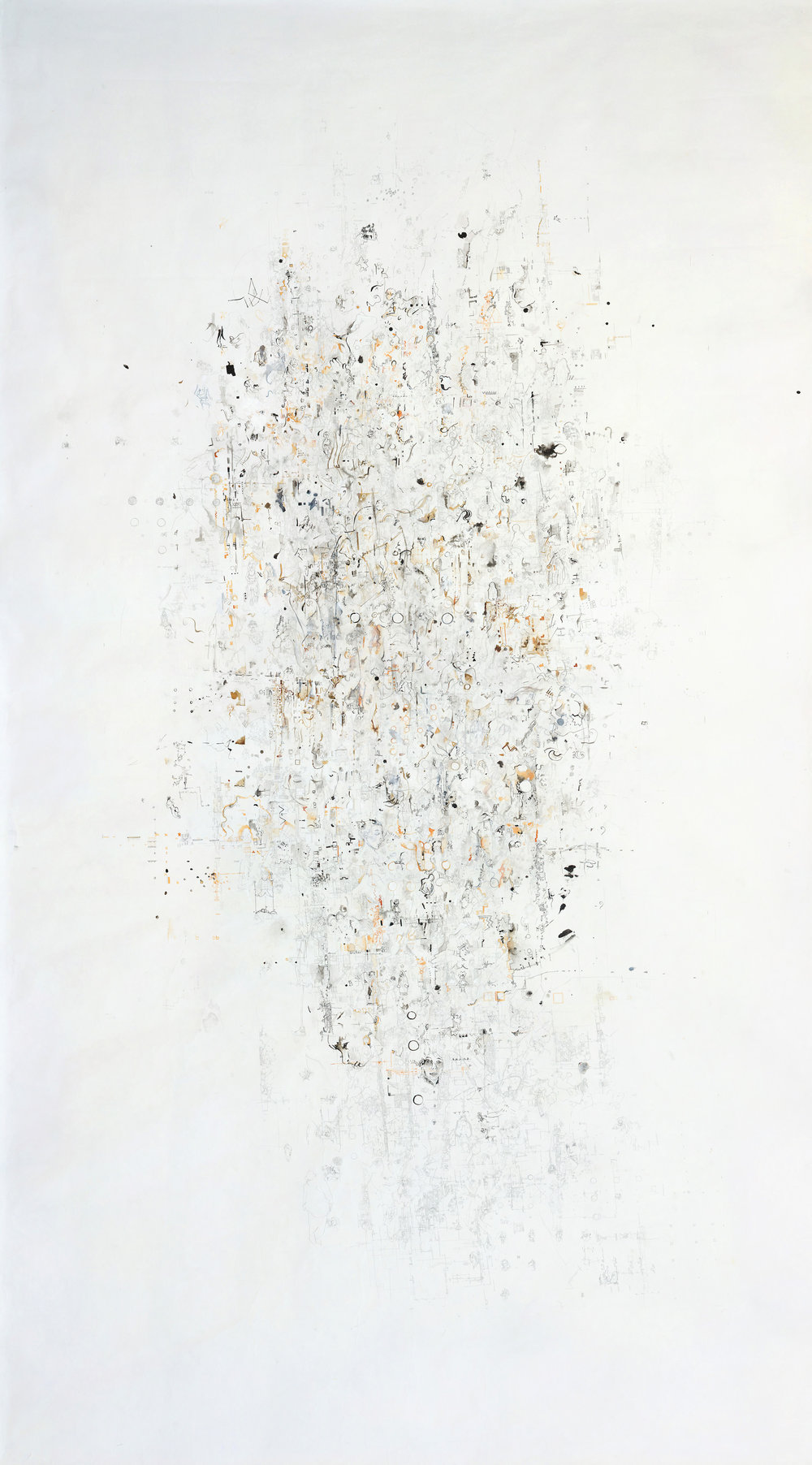 "AMoCA Collection  |  22 Years (with Annotations at 32 Years) , pen, pencil, ink, and gouache on paper, 101"" x 60"", 2001-2012"